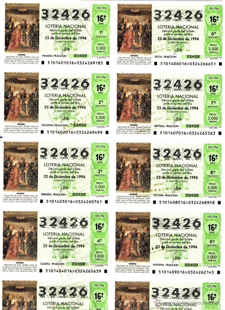 Lotería Nacional: Lote Colección 57 hojas loteria Nacional ( 570 décimos) de 1988 al 2004 ver todas las fotografias - Foto 4 - 43281274