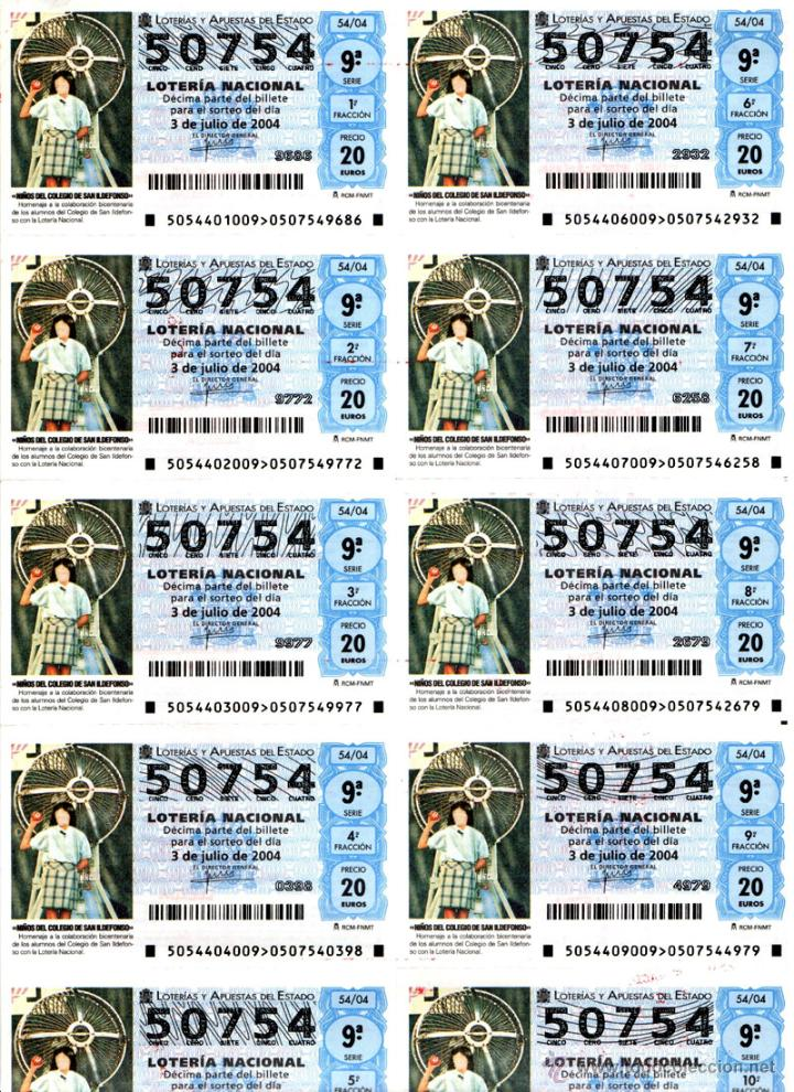 Lotería Nacional: Lote Colección 57 hojas loteria Nacional ( 570 décimos) de 1988 al 2004 ver todas las fotografias - Foto 8 - 43281274