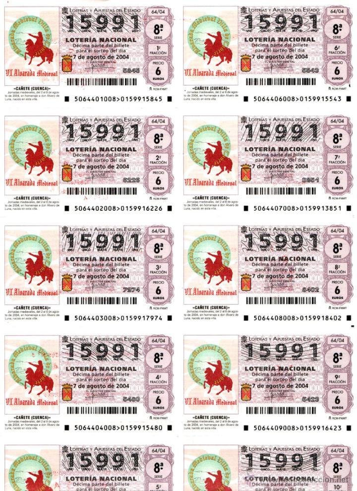 Lotería Nacional: Lote Colección 57 hojas loteria Nacional ( 570 décimos) de 1988 al 2004 ver todas las fotografias - Foto 10 - 43281274