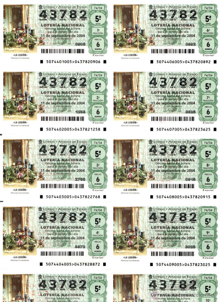 Lotería Nacional: Lote Colección 57 hojas loteria Nacional ( 570 décimos) de 1988 al 2004 ver todas las fotografias - Foto 12 - 43281274
