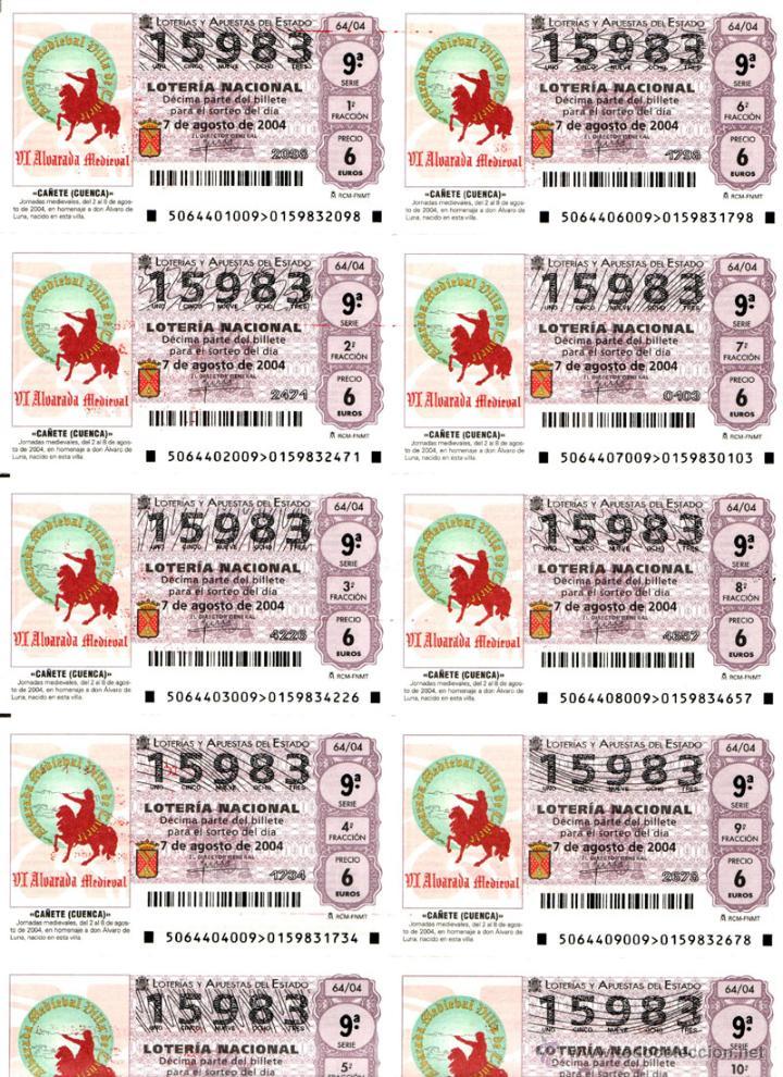 Lotería Nacional: Lote Colección 57 hojas loteria Nacional ( 570 décimos) de 1988 al 2004 ver todas las fotografias - Foto 13 - 43281274