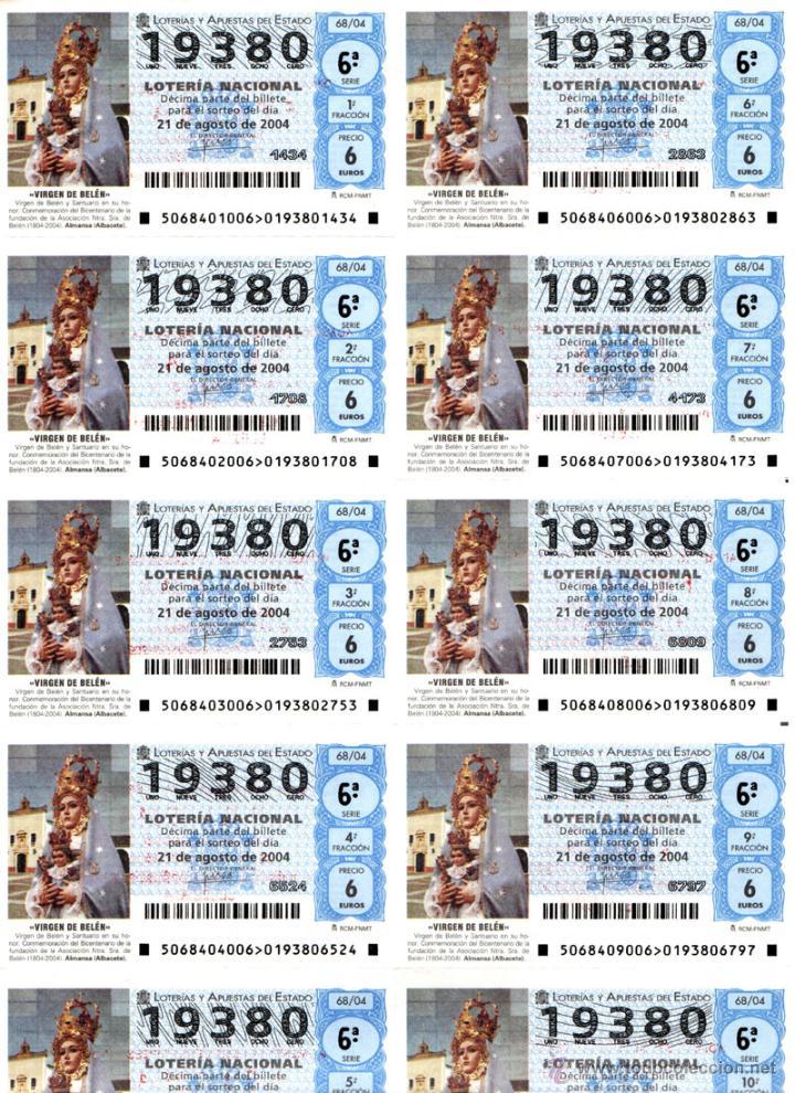 Lotería Nacional: Lote Colección 57 hojas loteria Nacional ( 570 décimos) de 1988 al 2004 ver todas las fotografias - Foto 15 - 43281274