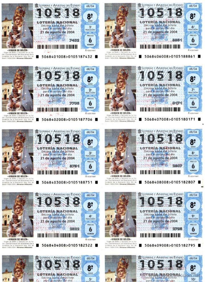 Lotería Nacional: Lote Colección 57 hojas loteria Nacional ( 570 décimos) de 1988 al 2004 ver todas las fotografias - Foto 17 - 43281274