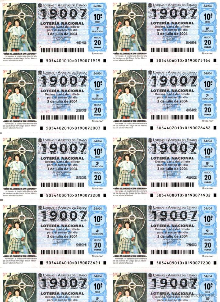 Lotería Nacional: Lote Colección 57 hojas loteria Nacional ( 570 décimos) de 1988 al 2004 ver todas las fotografias - Foto 19 - 43281274