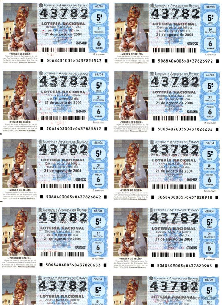 Lotería Nacional: Lote Colección 57 hojas loteria Nacional ( 570 décimos) de 1988 al 2004 ver todas las fotografias - Foto 22 - 43281274