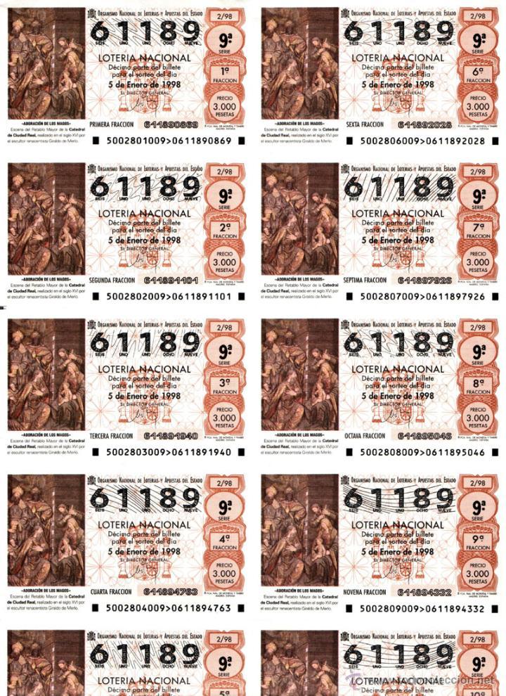 Lotería Nacional: Lote Colección 57 hojas loteria Nacional ( 570 décimos) de 1988 al 2004 ver todas las fotografias - Foto 24 - 43281274