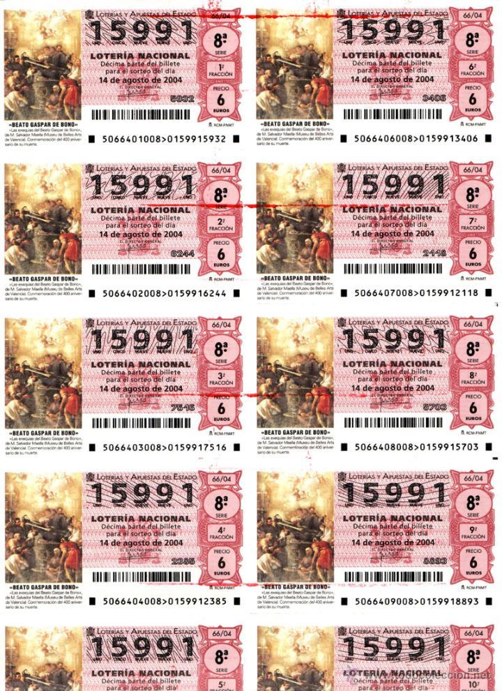 Lotería Nacional: Lote Colección 57 hojas loteria Nacional ( 570 décimos) de 1988 al 2004 ver todas las fotografias - Foto 25 - 43281274