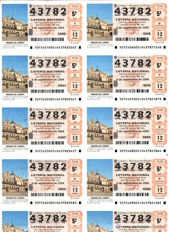 Lotería Nacional: Lote Colección 57 hojas loteria Nacional ( 570 décimos) de 1988 al 2004 ver todas las fotografias - Foto 27 - 43281274