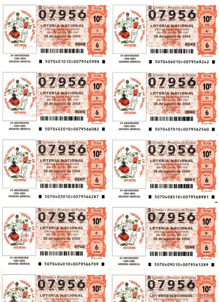 Lotería Nacional: Lote Colección 57 hojas loteria Nacional ( 570 décimos) de 1988 al 2004 ver todas las fotografias - Foto 29 - 43281274