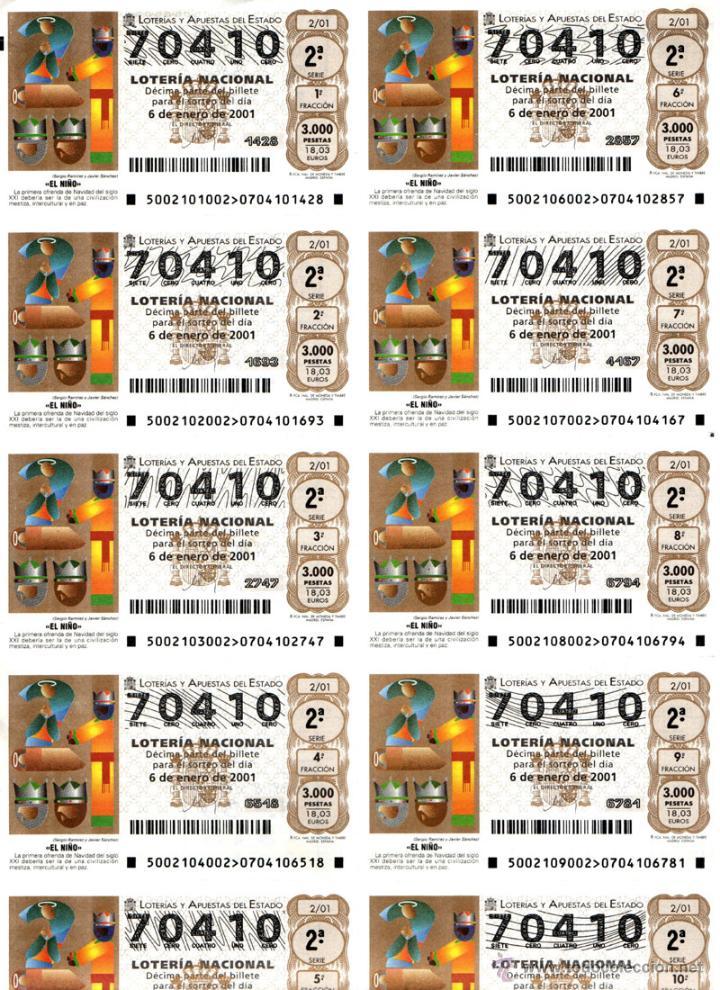 Lotería Nacional: Lote Colección 57 hojas loteria Nacional ( 570 décimos) de 1988 al 2004 ver todas las fotografias - Foto 33 - 43281274