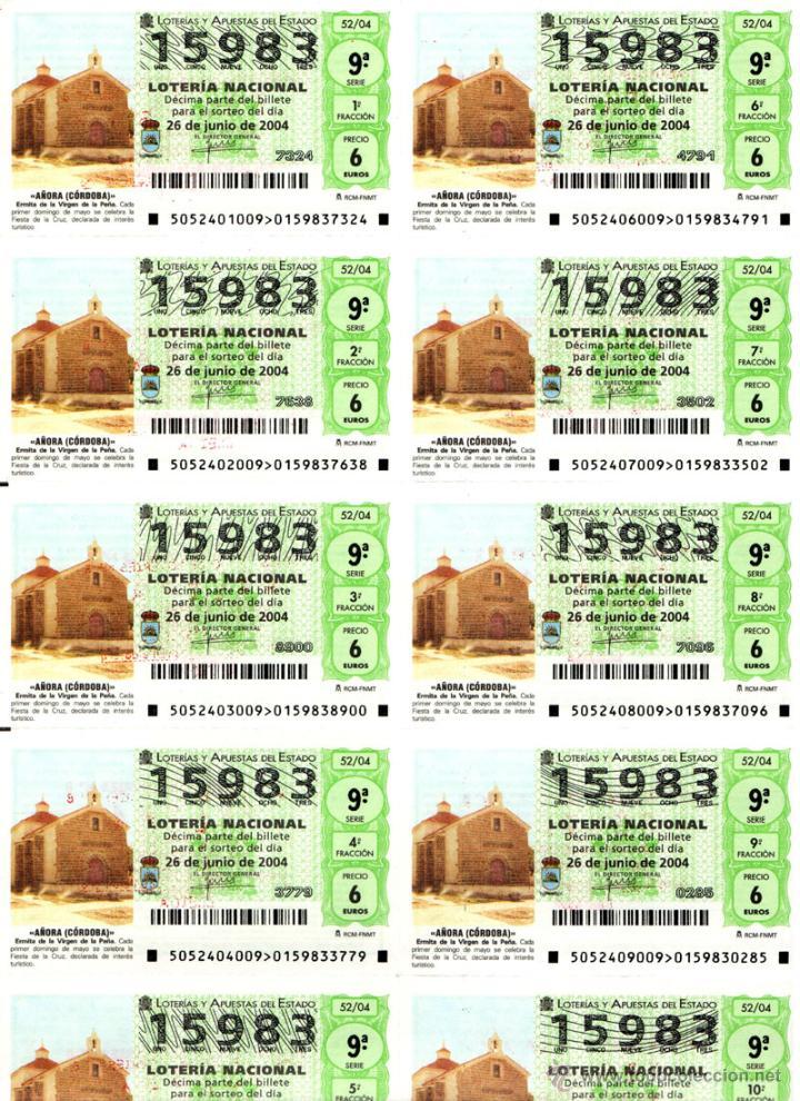 Lotería Nacional: Lote Colección 57 hojas loteria Nacional ( 570 décimos) de 1988 al 2004 ver todas las fotografias - Foto 34 - 43281274