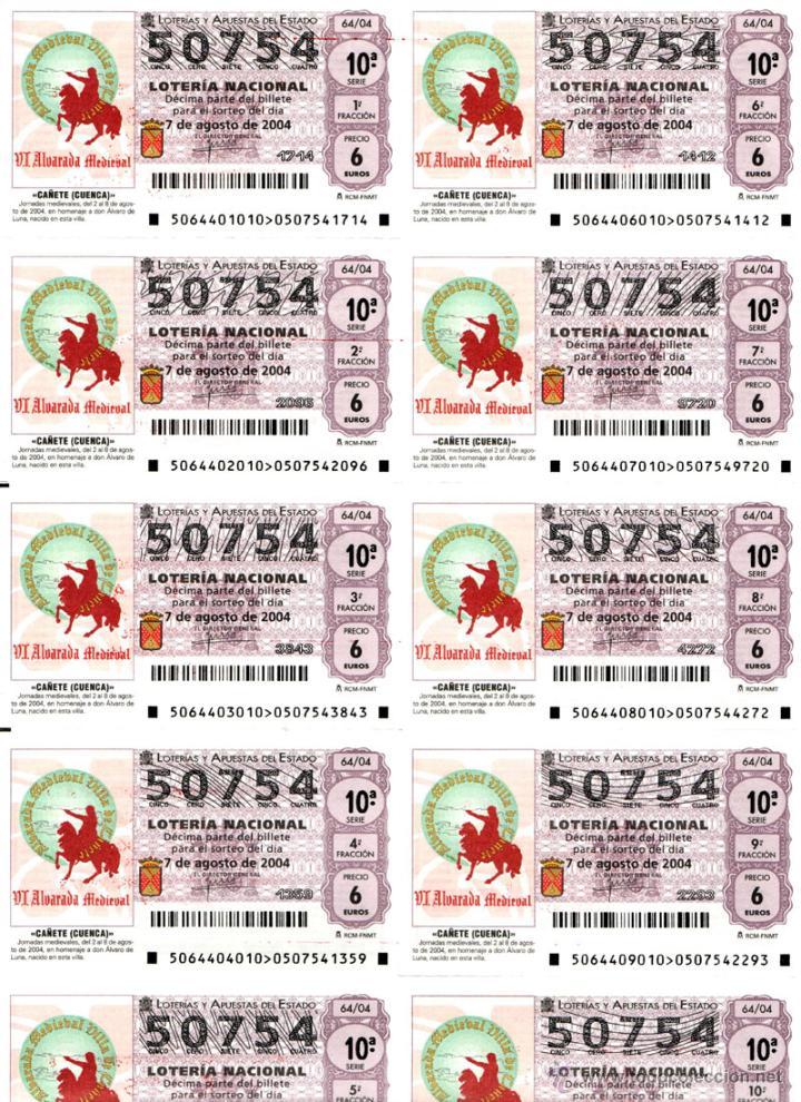 Lotería Nacional: Lote Colección 57 hojas loteria Nacional ( 570 décimos) de 1988 al 2004 ver todas las fotografias - Foto 35 - 43281274