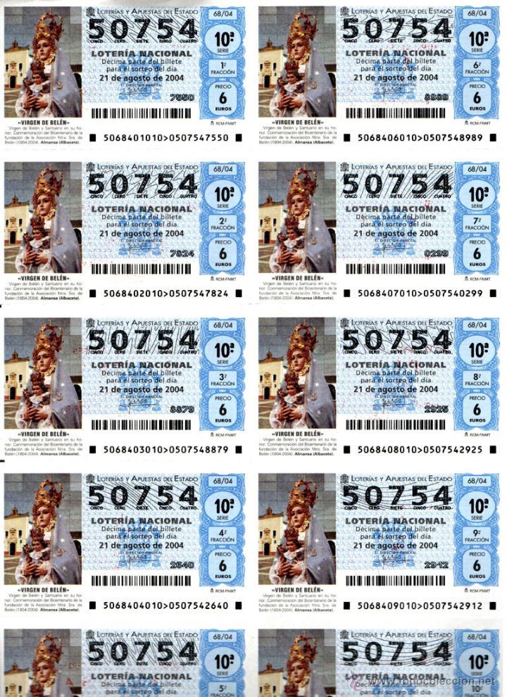 Lotería Nacional: Lote Colección 57 hojas loteria Nacional ( 570 décimos) de 1988 al 2004 ver todas las fotografias - Foto 36 - 43281274