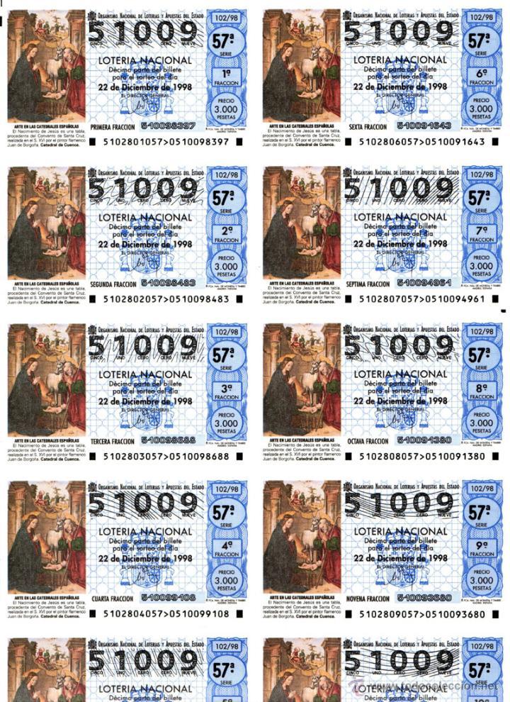 Lotería Nacional: Lote Colección 57 hojas loteria Nacional ( 570 décimos) de 1988 al 2004 ver todas las fotografias - Foto 37 - 43281274
