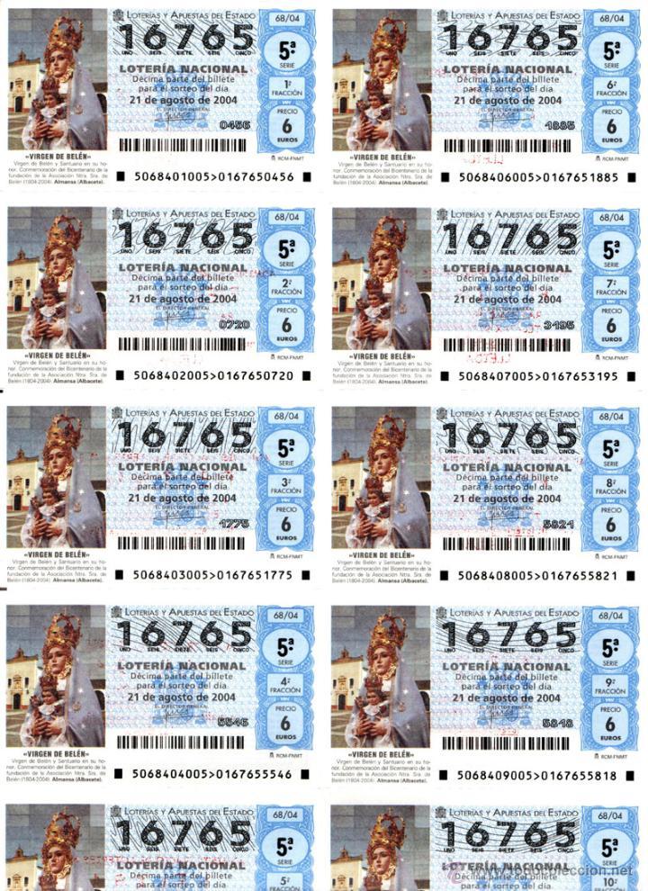 Lotería Nacional: Lote Colección 57 hojas loteria Nacional ( 570 décimos) de 1988 al 2004 ver todas las fotografias - Foto 40 - 43281274