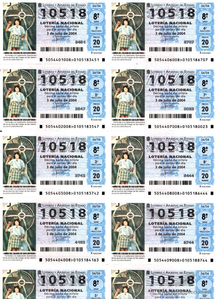 Lotería Nacional: Lote Colección 57 hojas loteria Nacional ( 570 décimos) de 1988 al 2004 ver todas las fotografias - Foto 42 - 43281274