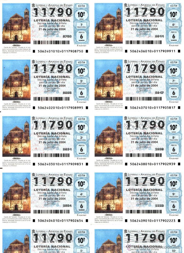 Lotería Nacional: Lote Colección 57 hojas loteria Nacional ( 570 décimos) de 1988 al 2004 ver todas las fotografias - Foto 43 - 43281274