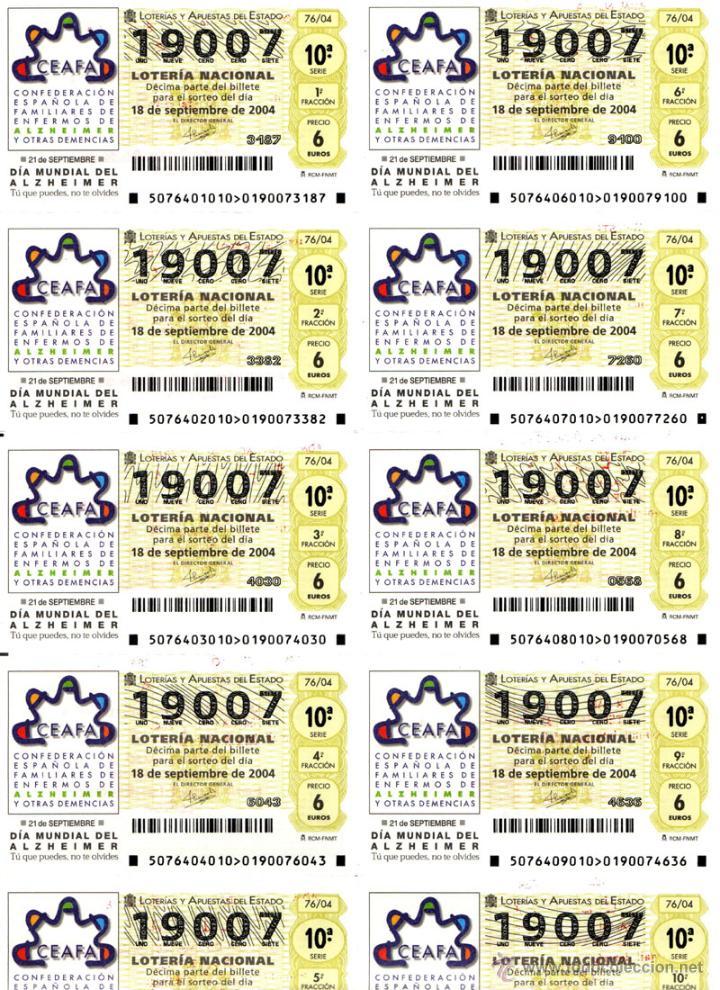 Lotería Nacional: Lote Colección 57 hojas loteria Nacional ( 570 décimos) de 1988 al 2004 ver todas las fotografias - Foto 46 - 43281274