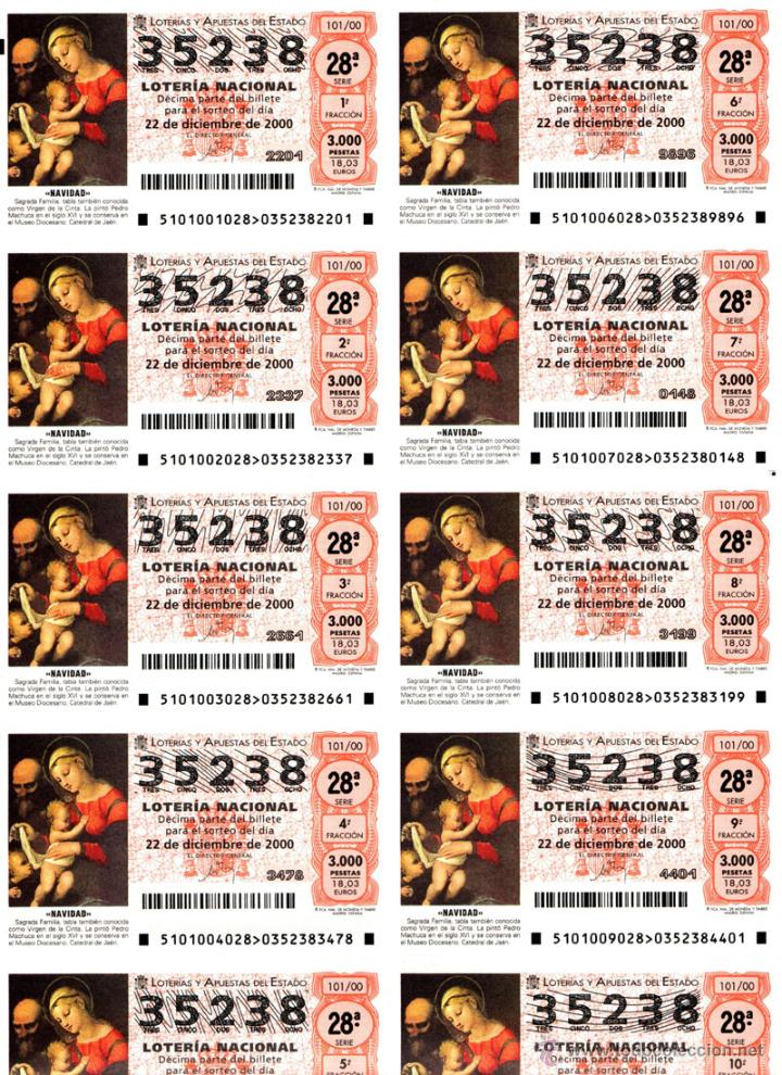 Lotería Nacional: Lote Colección 57 hojas loteria Nacional ( 570 décimos) de 1988 al 2004 ver todas las fotografias - Foto 47 - 43281274
