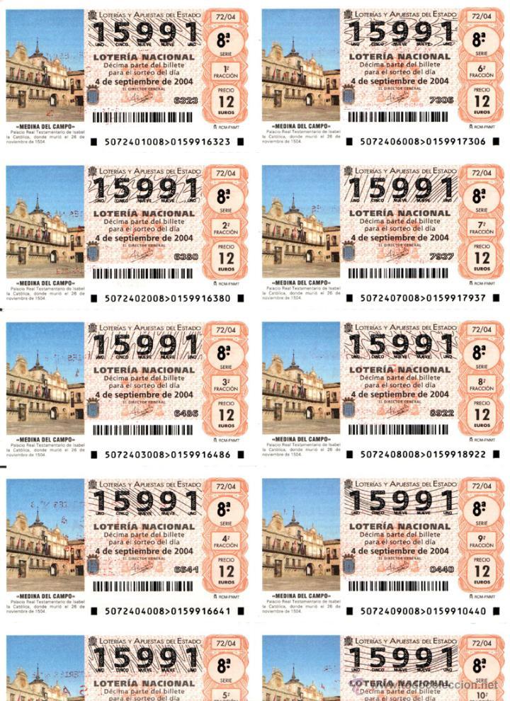 Lotería Nacional: Lote Colección 57 hojas loteria Nacional ( 570 décimos) de 1988 al 2004 ver todas las fotografias - Foto 48 - 43281274