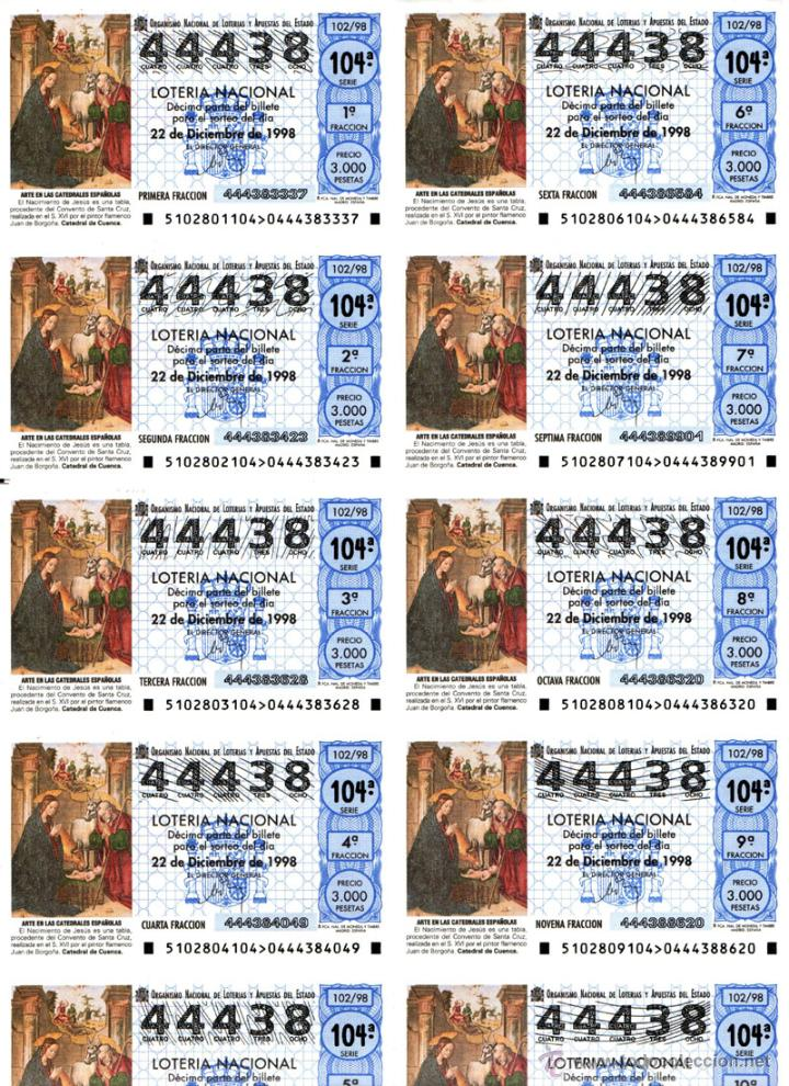 Lotería Nacional: Lote Colección 57 hojas loteria Nacional ( 570 décimos) de 1988 al 2004 ver todas las fotografias - Foto 52 - 43281274