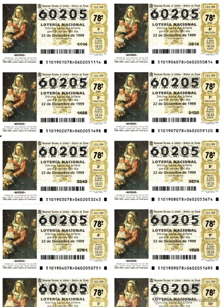 Lotería Nacional: Lote Colección 57 hojas loteria Nacional ( 570 décimos) de 1988 al 2004 ver todas las fotografias - Foto 53 - 43281274