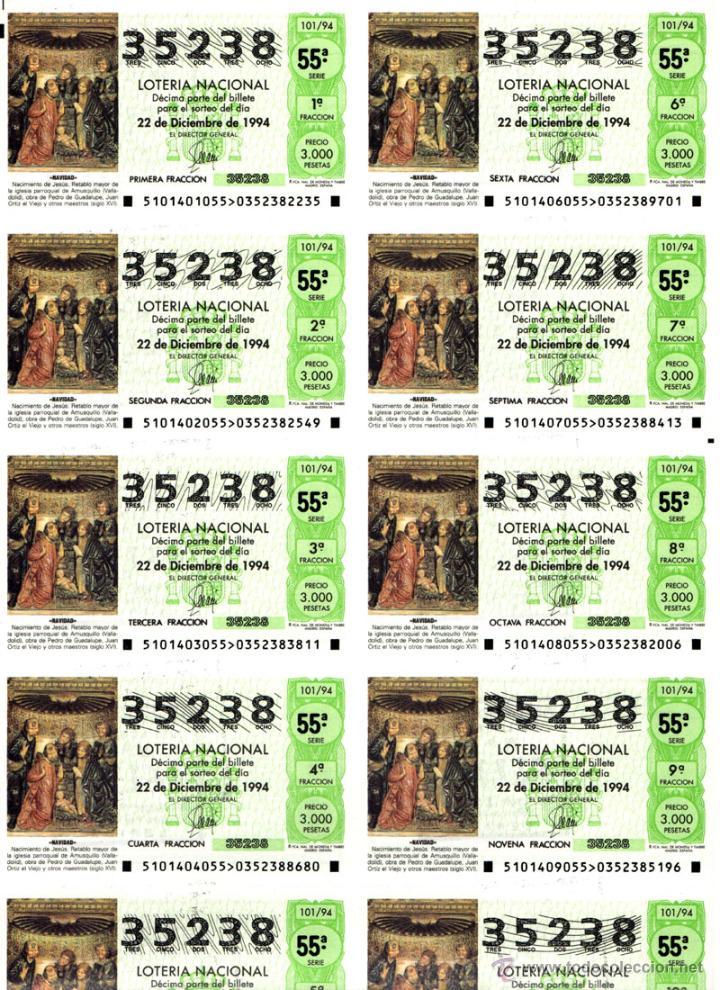 Lotería Nacional: Lote Colección 57 hojas loteria Nacional ( 570 décimos) de 1988 al 2004 ver todas las fotografias - Foto 54 - 43281274