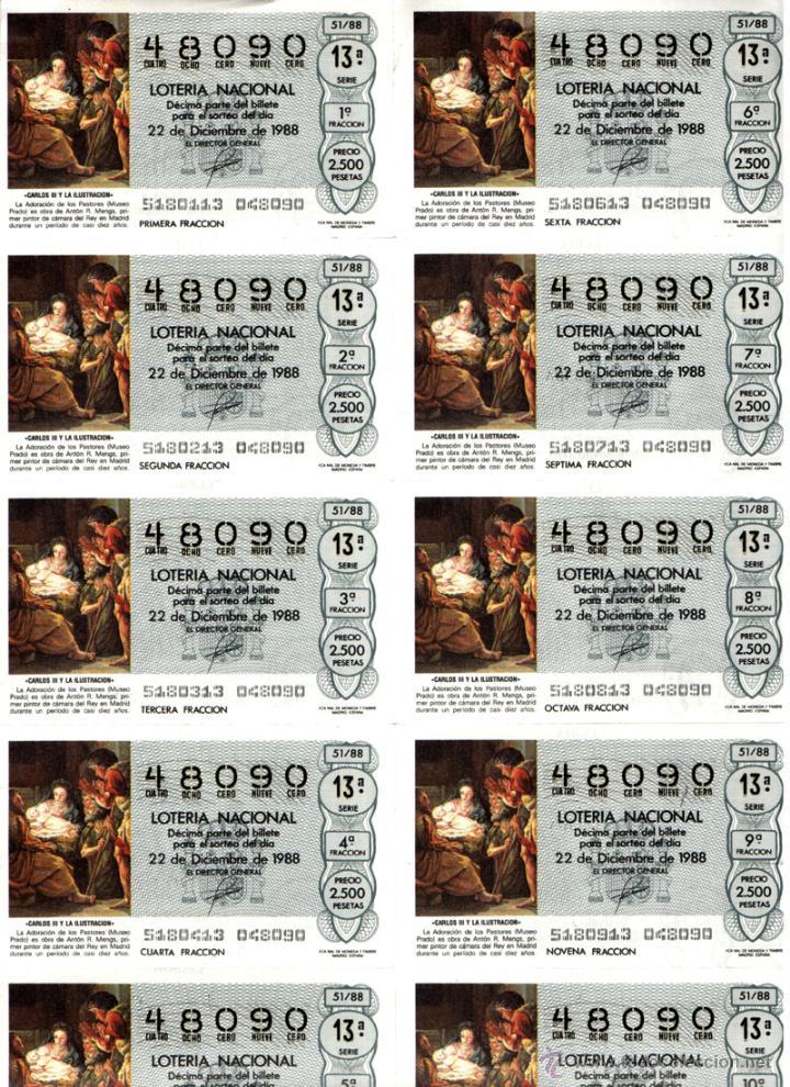 Lotería Nacional: Lote Colección 57 hojas loteria Nacional ( 570 décimos) de 1988 al 2004 ver todas las fotografias - Foto 55 - 43281274
