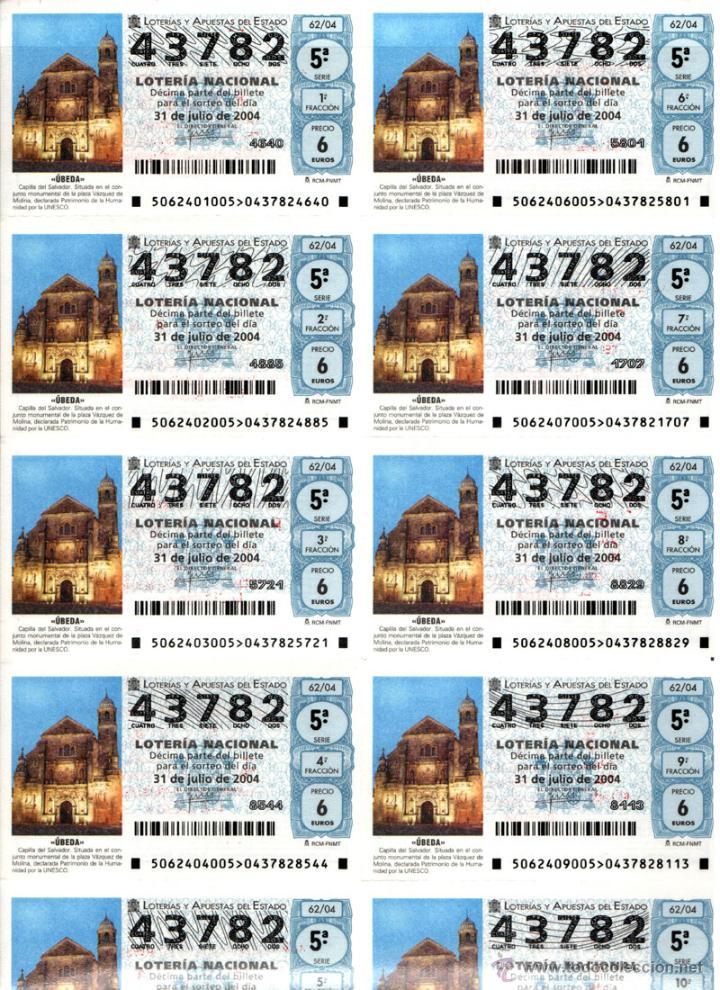 Lotería Nacional: Lote Colección 57 hojas loteria Nacional ( 570 décimos) de 1988 al 2004 ver todas las fotografias - Foto 56 - 43281274