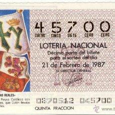 Lotería Nacional: LOTERÍA NACIONAL.- NÚMEROS RAROS: 45700.- SORTEO 8 DE 1987.- . Lote 43332842