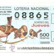 Lotería Nacional: 10-1094. LOTERIA DEL JUEVES, SORTEO 10 DE 1994. AVES. GORRIÓN. Lote 120670287