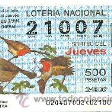 Lotería Nacional: 10-2094. LOTERÍA DEL JUEVES, SORTEO Nº 20 DE 1994. AVES. PETIRROJO. Lote 112908996