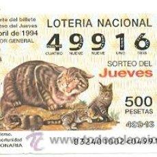 Lotería Nacional: 10-3294. LOTERÍA DEL JUEVES, SORTEO Nº 32 DE 1994. FAUNA. GATO MONTES. Lote 106025739