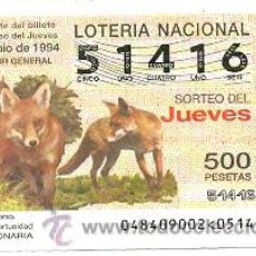 Lotería Nacional: 10-4894. LOTERÍA DEL JUEVES, SORTEO Nº 48 DE 1994.FAUNA. ZORRO COMÚN. Lote 106025660
