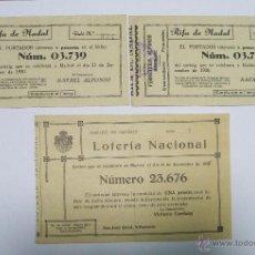 Lotería Nacional: LOTE DE 3 CUPONES DE NAVIDAD - PARTICIPACIONES - VICTORIA CARDANY Y ALFONSO - MONTBLANC . Lote 43752209