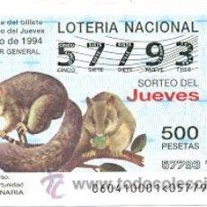 Lotería Nacional: 10-6094. LOTERÍA DEL JUEVES, SORTEO Nº 60 DE 1994. LIRÓN GRIS. Lote 106025620