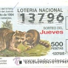 Lotería Nacional: 10-6894. LOTERÍA DEL JUEVES, SORTEO Nº 68 DE 1994. MAPACHE. Lote 96607263