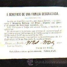 Lotería Nacional: BOLETO DE RIFA. LOTERIA NACIONAL. BENEFICIO FAMILIA DESGRACIADA. ADM. DE LA ESPERANZA, MADRID. 1871. Lote 43956716