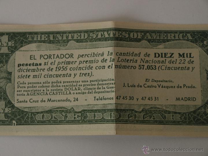 PARTICIPACION DE LOTERIA NAVIDAD 22 DICIEMBRE 1956. Nº 57053. ONE DOLAR. 15,4 X 6,5 CM. VER FOTOS. (Coleccionismo - Lotería Nacional)