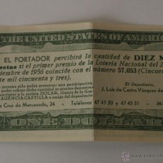 Lotería Nacional: PARTICIPACION DE LOTERIA NAVIDAD 22 DICIEMBRE 1956. Nº 57053. ONE DOLAR. 15,4 X 6,5 CM. VER FOTOS.. Lote 44227047