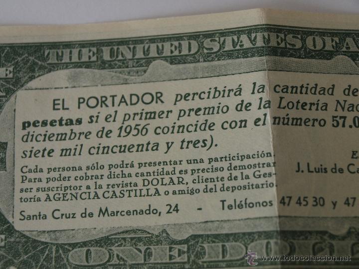 Lotería Nacional: PARTICIPACION DE LOTERIA NAVIDAD 22 DICIEMBRE 1956. Nº 57053. ONE DOLAR. 15,4 X 6,5 CM. VER FOTOS. - Foto 4 - 44227047