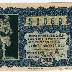 Lotería Nacional: BONITO DECIMO - LOTERIA NACIONAL - MADRID 22-DICIEMBRE DE 1953 - SORTEO NÚM. 36. Lote 44328954