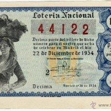 Lotería Nacional: BONITO DECIMO - LOTERIA NACIONAL - MADRID 22-DICIEMBRE DE 1954 - SORTEO NÚM. 36. Lote 44329019