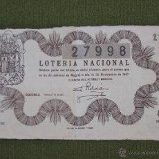 Lotería Nacional: LOTERIA NACIONAL. MADRID 15 NOVIEMBRE 1947. Lote 44361981