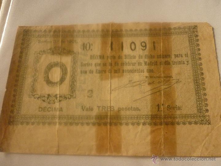 DECIMO AÑO 1901. EL DE LA FOTO (Coleccionismo - Lotería Nacional)