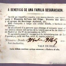 Lotería Nacional: RIFA DE UN CUADRO DE NUESTRA SEÑORA DEL PILAR A BENEFICIO DE UNA FAMILIA DESGRACIADA. SORTEO 1871. Lote 44715086