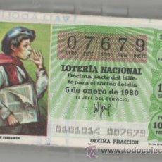 Lotería Nacional: LOTERÍA NACIONAL 1980 ( SÁBADOS ) COLECCIÓN COMPLETA, AÑO COMPLETO. Lote 44755328
