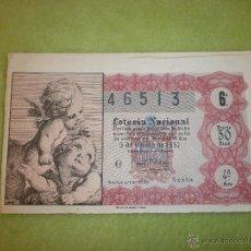 Lotería Nacional: DECIMO DE LOTERIA DEL 5 DE ENERO DE 1957 CON MOTIVOS DE ANGELES. LEER DESCRIPCIÓN ANTES DE PUJAR.. Lote 44857819