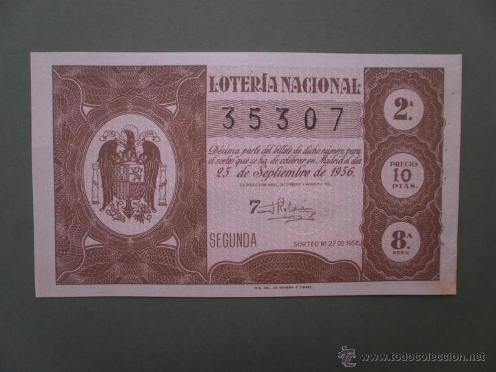 DECIMO DE LOTERIA NACIONAL AÑO 1956 , SORTEO Nº 27 (Coleccionismo - Lotería Nacional)