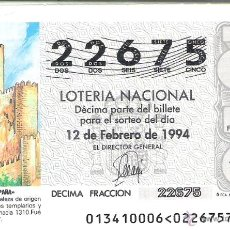 Lotteria Nationale Spagnola: 1 DECIMO LOTERIA DEL SABADO - 12 FEBRERO 1994 - 13/94 - CASTILLO DE ALMANSA ( ALBACETE ). Lote 45202372